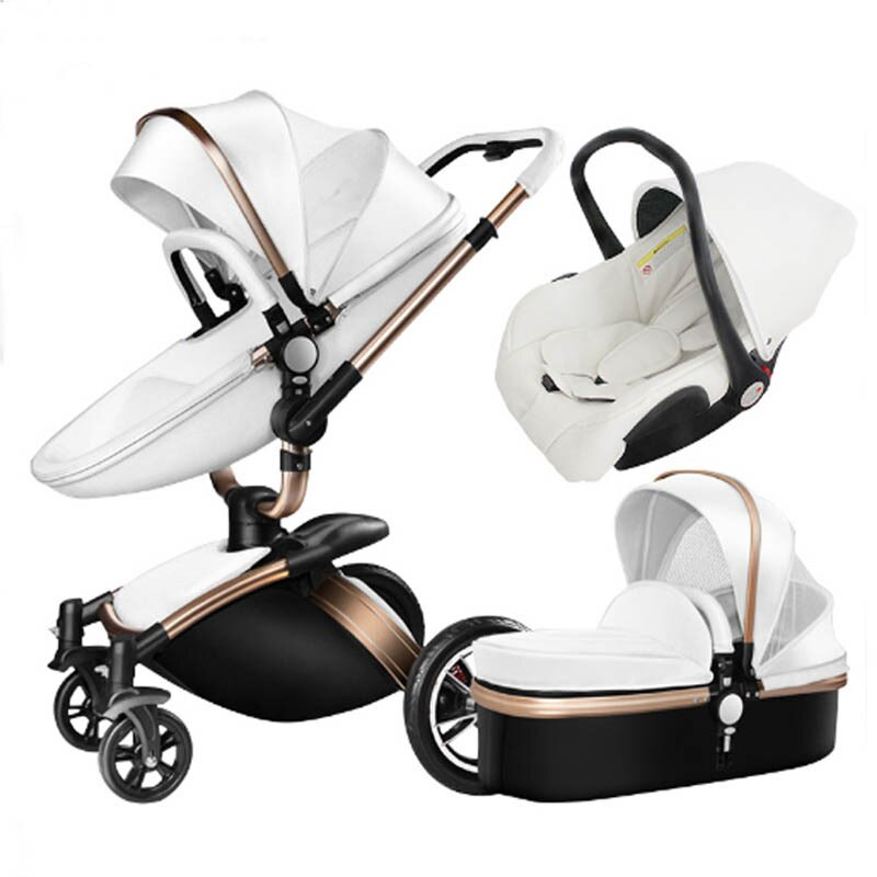 3 In 1 Baby Stroller Leather Two-way High Landscape Stroller 360 Degree Turn Can Sit Foldable Shock Absorber  Baby Car Seat