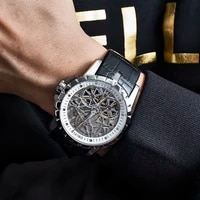 oblvlo luxury mens automatic watches rose gold skeleton watch brown leather strap wterproof watch relogio masculino rm t