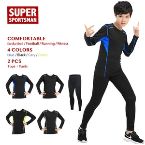 Children Sport Suit Kids Workout Fitness Clothes Gym Clothing Men Boys Training Sportswear Running Tracksuit Jogging Sets Tights