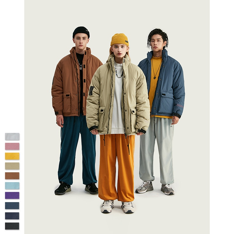 Otoño Invierno última ropa acolchada de algodón para hombres cuello de Velcro sólido grueso cálido algodón acolchado ropa simple chaqueta suelta para hombres