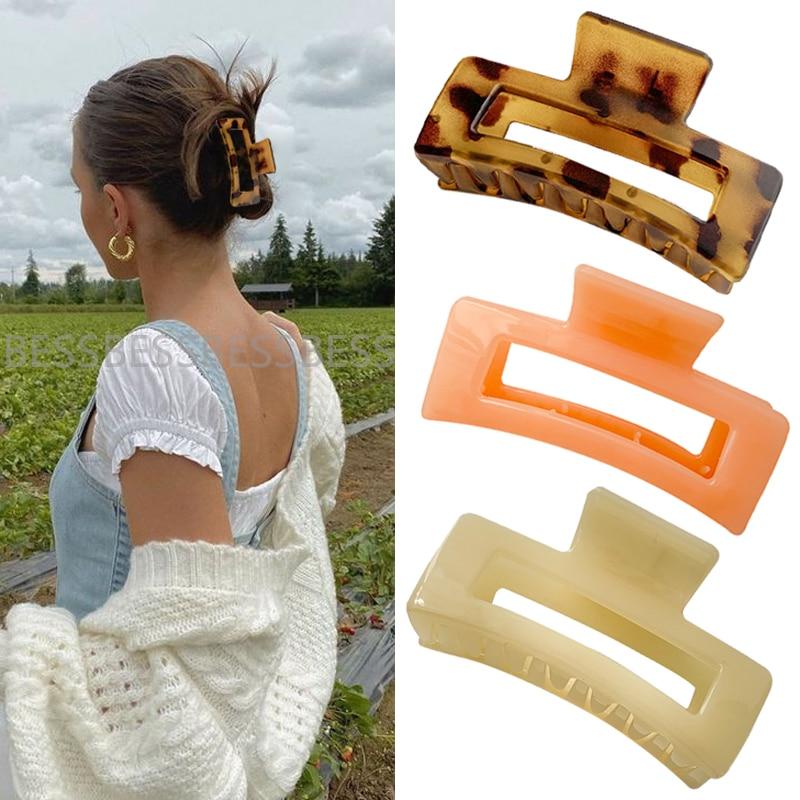 Women Hair Claws Crab Soild Color Hair Clips Rectangle Resin plastic Geometric Hairpins Girl decorat