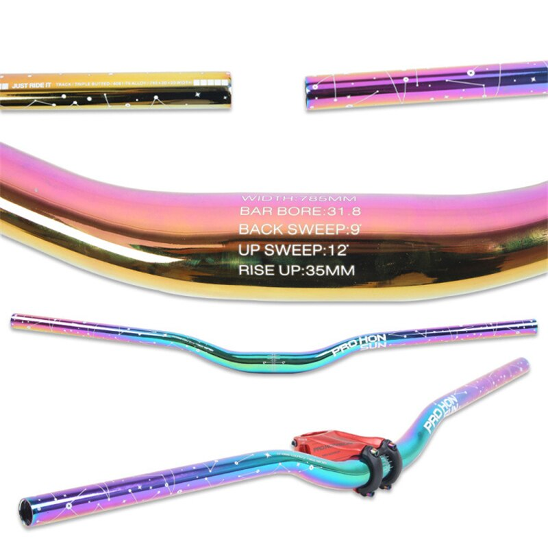 Colorful MTB Bicycle Handlebar Riser Handlebar Mountain Bike Rise Handle Bar Thick Tube 9 degree Backsweep Rise 35mm 31.8*745mm