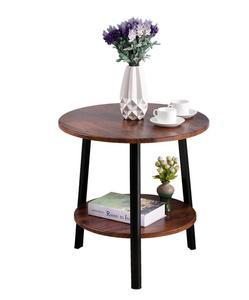 Деревянный Круглый Балконный стол двухслойный прикроватный угловой журнальный столик