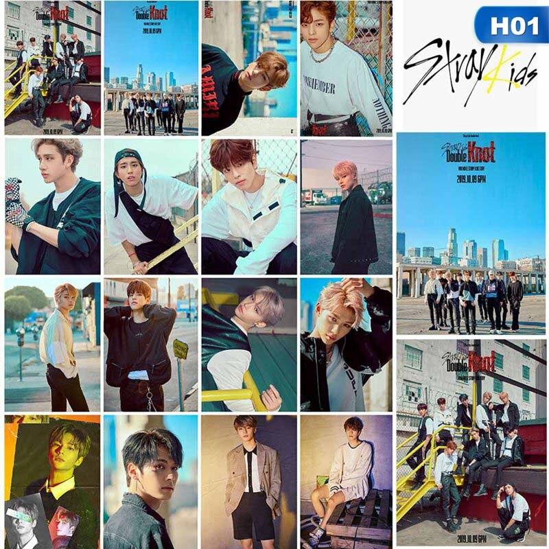 16 unids/set Kpop Stray Kids, tarjeta de foto, álbum de doble nudo, Lomo, Tarjeta para sesión fotográfica, Kpop Stray Kids recién llegados