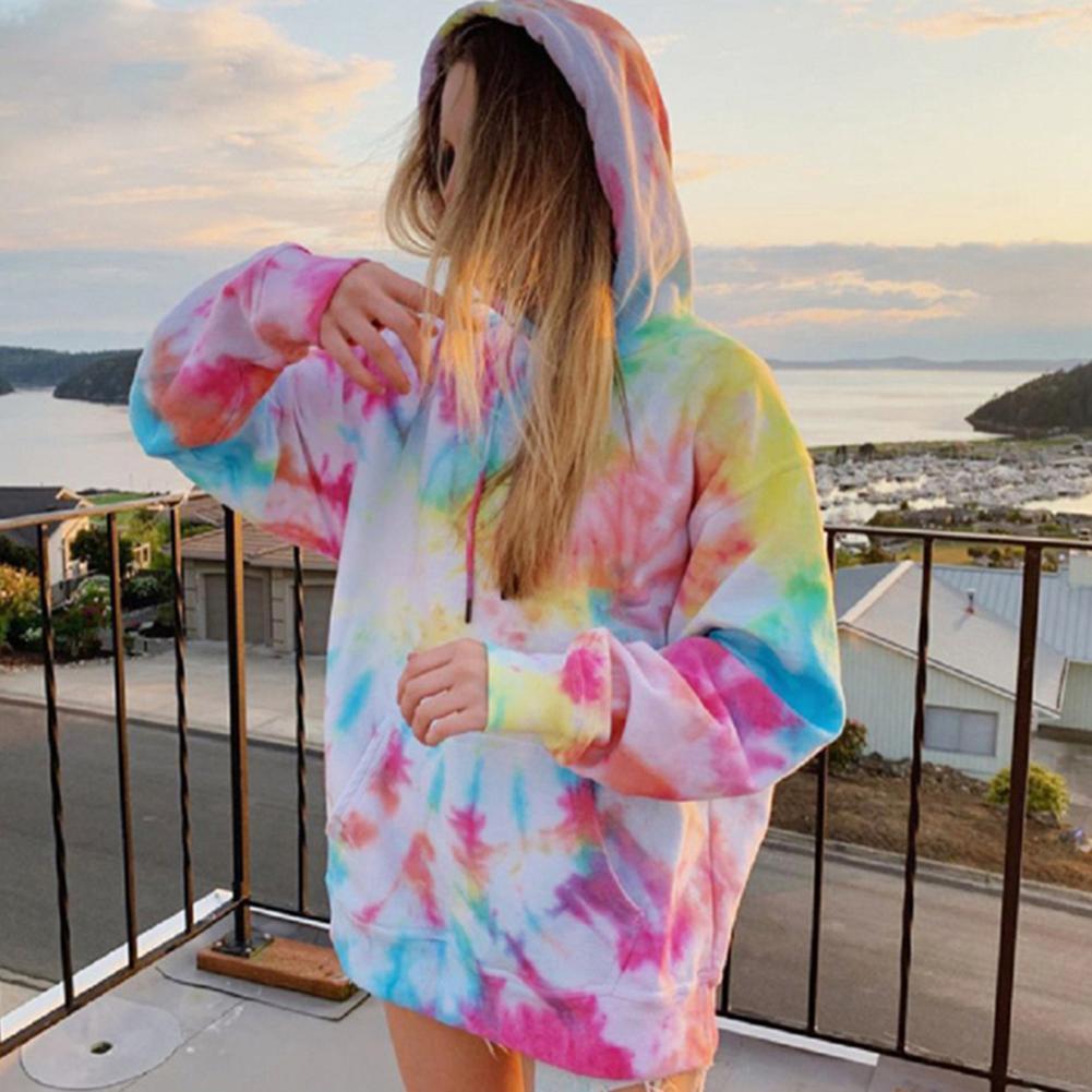 Arco-íris hoodies moletom feminino oversize tie dye hoodie streetwear pulôver primavera outono casual feminino camisolas hoddies topos