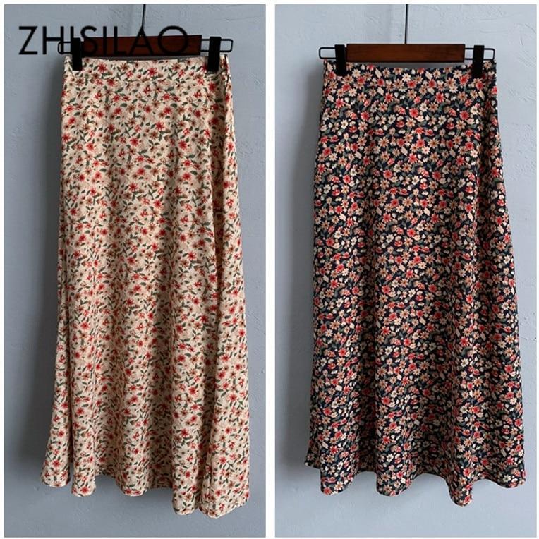 Floral Skirt Women Maxi A-line Long Summer Chiffon Skirt Maxi Vintage Elegant High Waist Saia Longa 2020 Retro Skirt