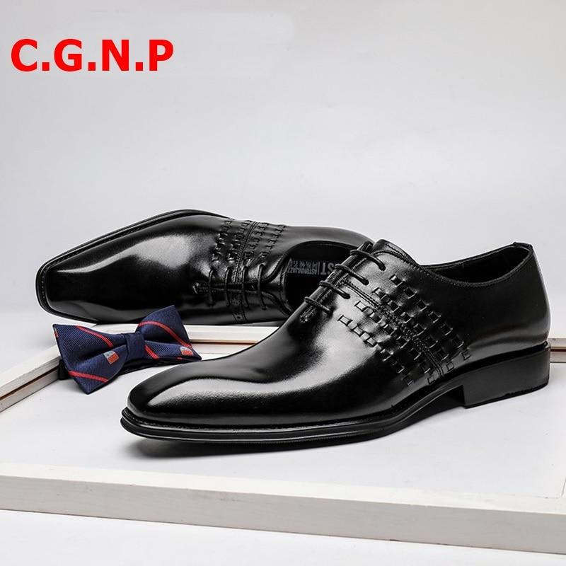 Купить с кэшбэком C.G.N.P Goodyear British Style Genuine Leather Oxfords Shoes For Men Retro Weave Design Genuine Leather Formal Wedding Shoes