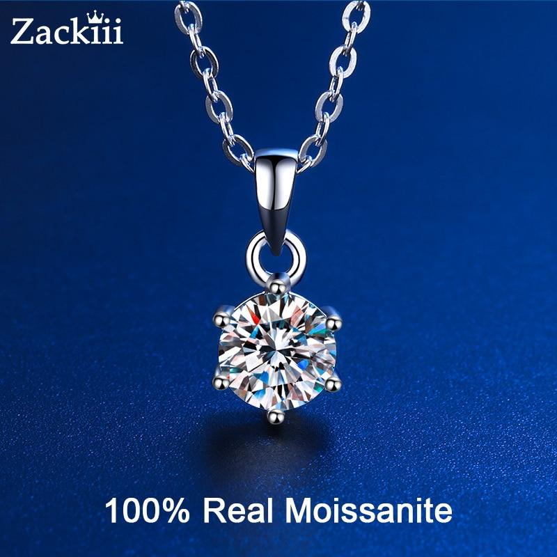 100% ريال مويسانيتي قلادة 1CT 2CT 3CT VVS مختبر قلادة الماس القلائد للنساء الرجال هدية فضة مجوهرات الزفاف