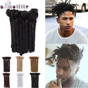 s-noilite 6inch Dreadlock Men Handmade Synthetic Crochet Braiding hair short Hip Hop Pure Color crochet Hair for black men