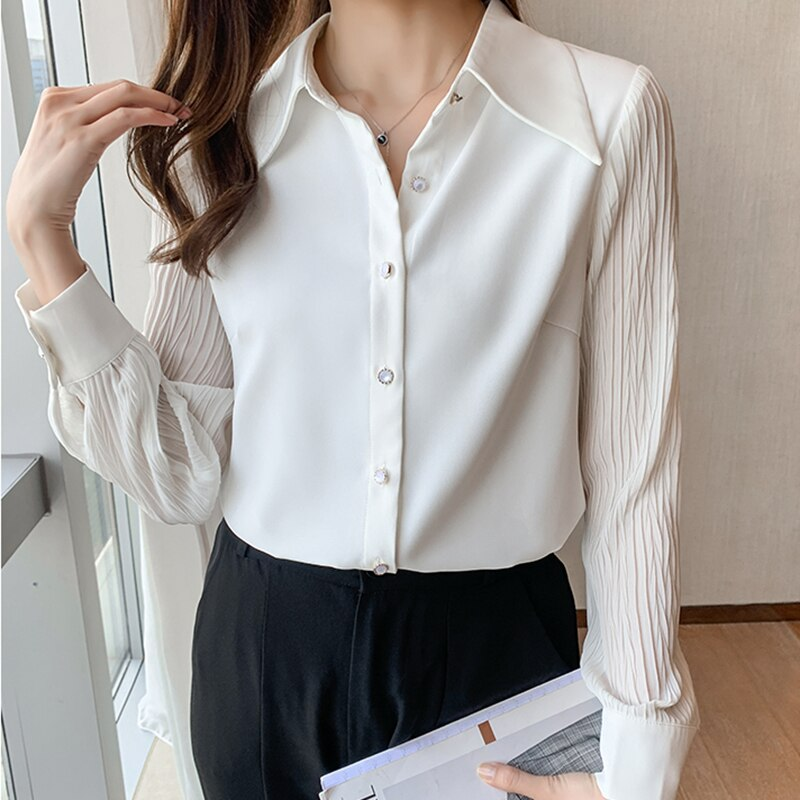 Chemise Femme Fall 2021 Womens Fashion White Shirt Long Sleeve Blouse Women Button Office Chiffon Ladies Tops Korean Clothing