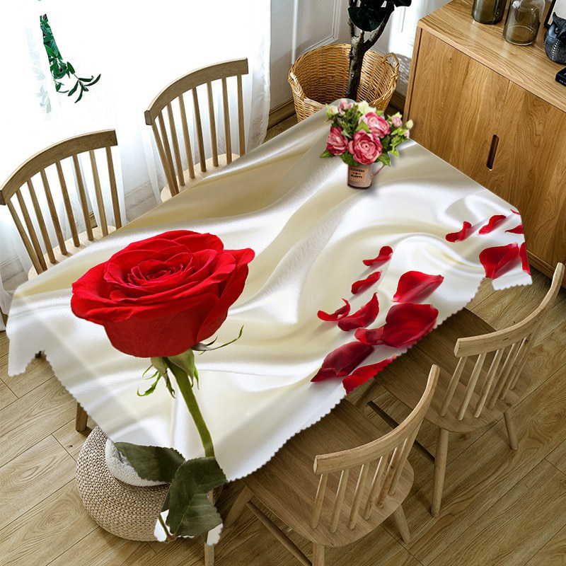Meijuner 3D Table Cloth Kitchen Dining Table Decoration Home Rectangular Party Table Cloth Valentine's Day Decoration