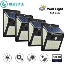 144 100 40 LEDs Solar Powered Wall Lamp PIR Motion Sensor Waterproof Garden Light Outdoor Path Security 3 Sided Luminous