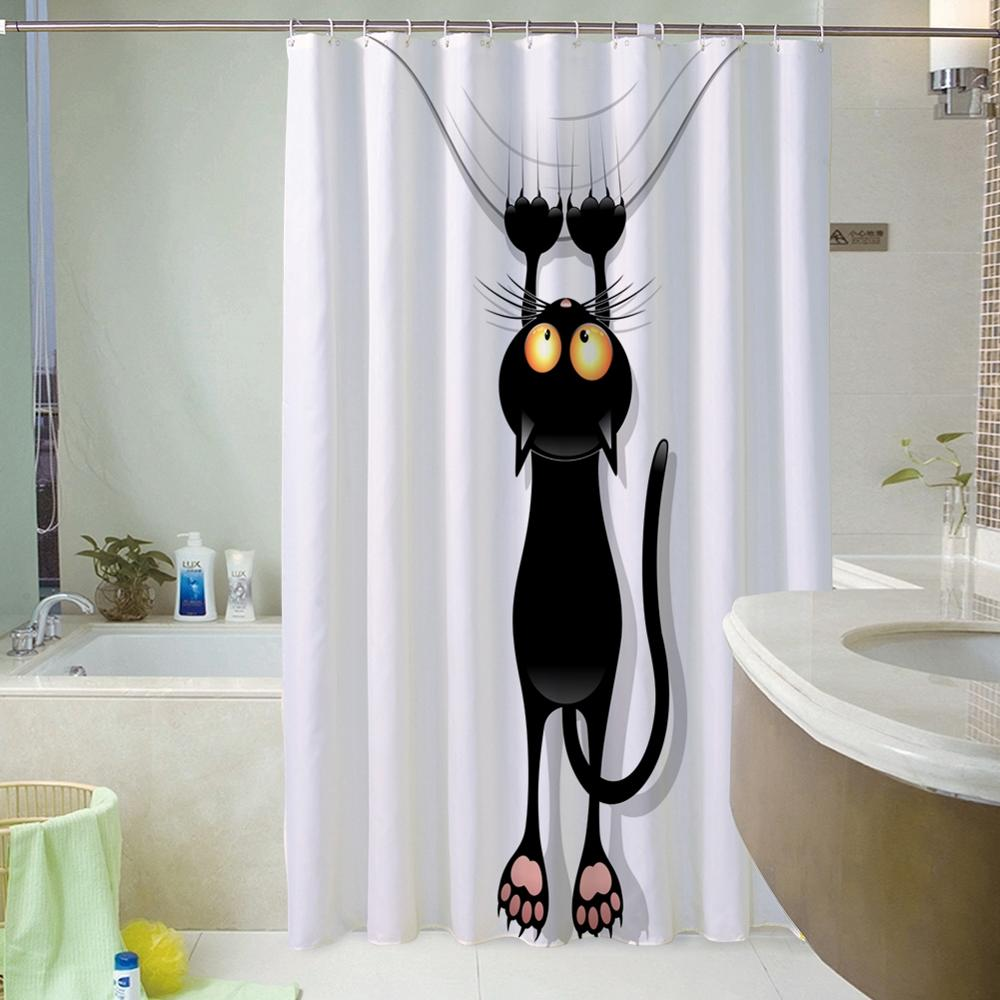 3D Printed Shower Curtain Waterproof Polyester Multiple Sizes Cartoon Animals Pattern Bath Products Bathroom Decor with 12 Hooks
