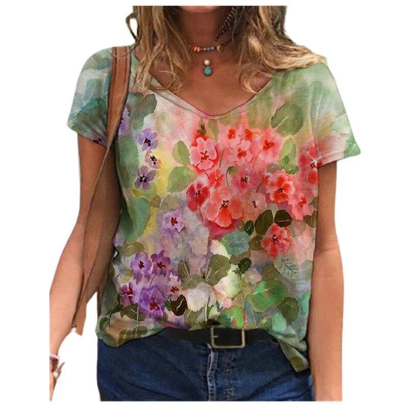 Laço corante 3d impressão floral camisetas femininas casual manga curta solta mais tamanho topos moda rua senhoras com decote em v verão 2021 novo