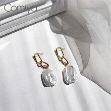 Comiya Drop Earring Gold Color Zinc Alloy Links Accessories Acrylic Pearls Geometric Korean Jewelry Dangle Earrings For Women
