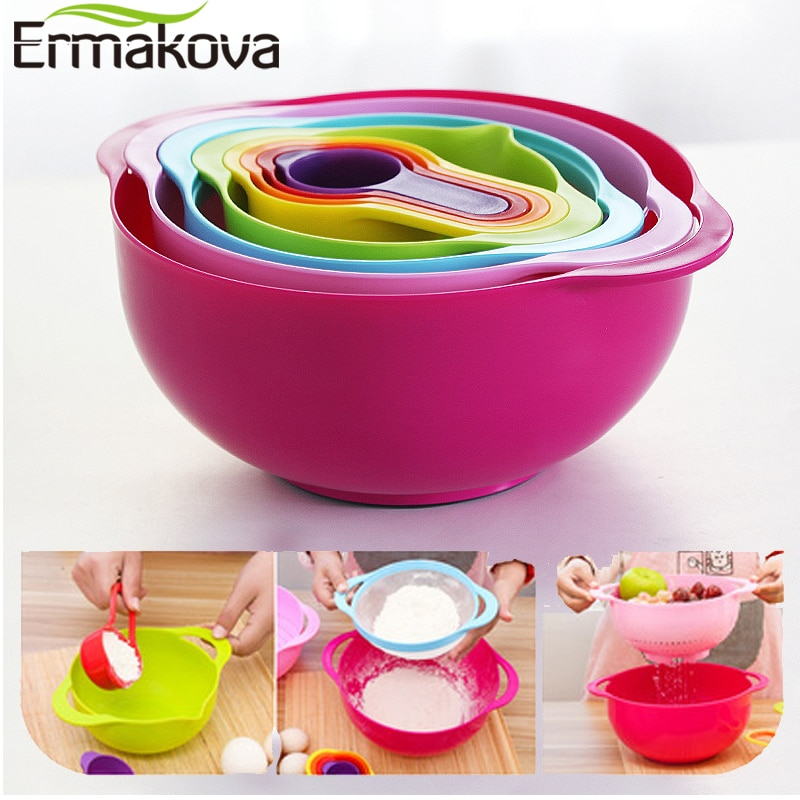 ERMAKOVA 10 Pcs Mixing Bowls Set Nesting Bowls Stackable Measuring Cups Sieve Strainer Colander for Salad Cooking Baking Tool