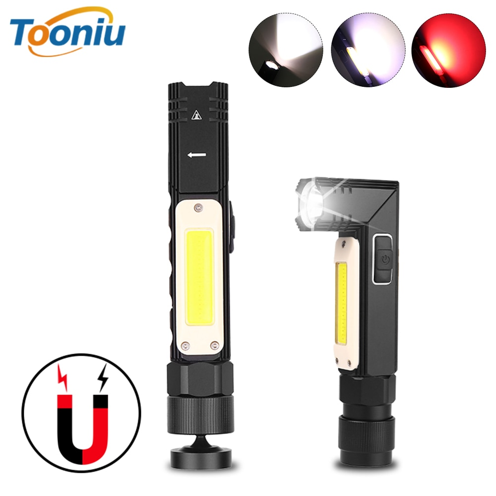 Multi-function LED Flashlight rotating COB work light USB Rechargeable LED Torch With strong magnet Suitable for multiple scenes