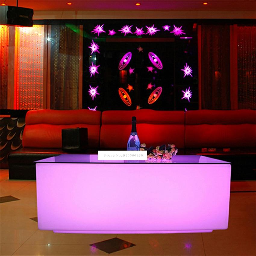 طاولة بار LED ملونة إبداعية ، طاولة قهوة حديثة ، 16 لونًا ، ديكور منزلي مع جهاز تحكم عن بعد