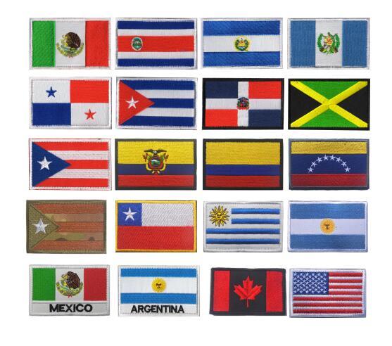 Криатрил Америка Флаги стран Мексика пуерто-Рико Аргентина Соединенные Штаты, Канада Бразилия El Salvador вышитые нашивки значки