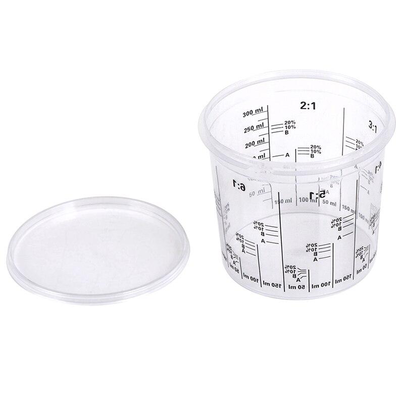 5 uds de plástico pintura tazas de mezcla 385 pintura ml mezcla calibrada copa precisa mezcla de pintura y líquidos