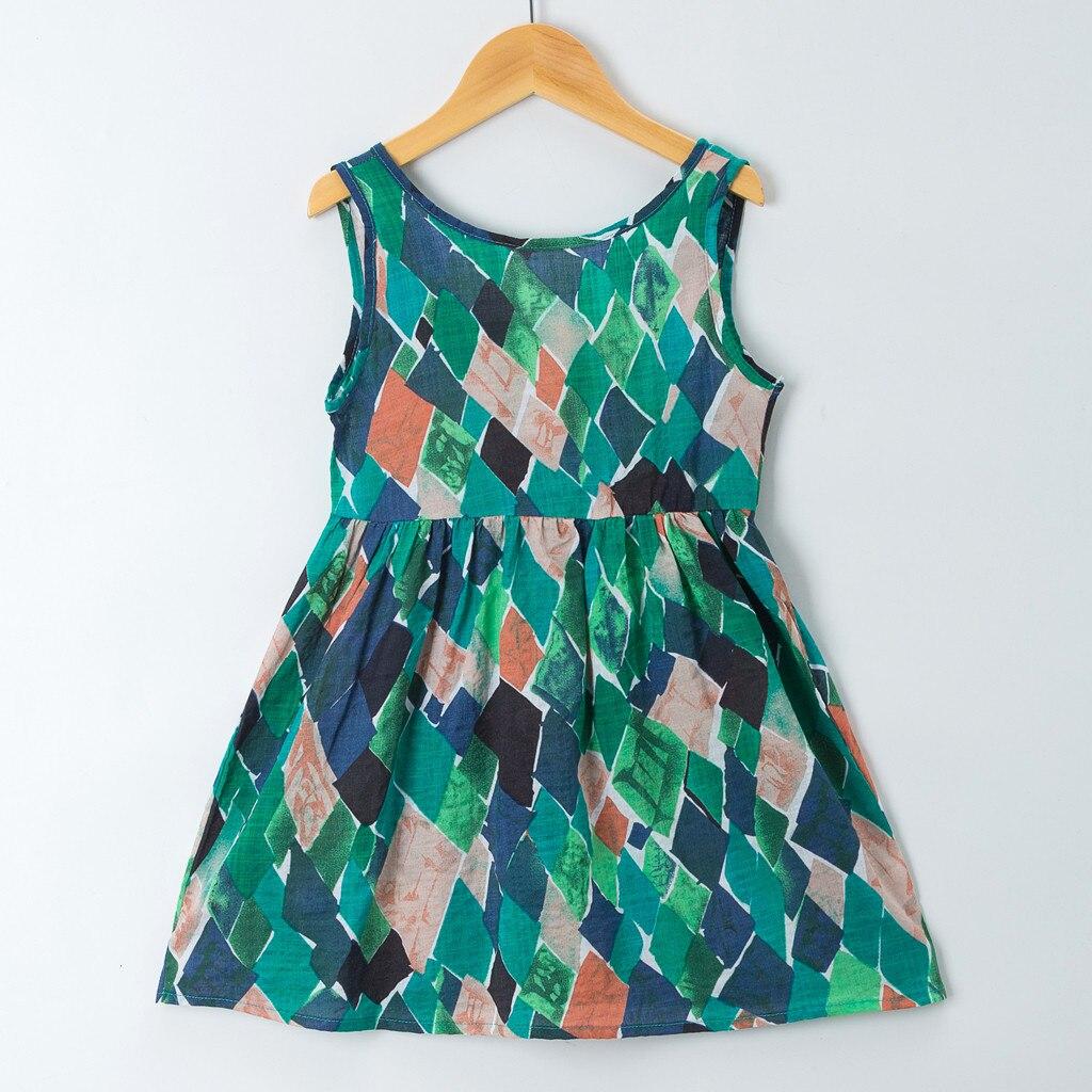 Детское летнее платье принцессы без рукавов, с принтом, на бретелях, S4