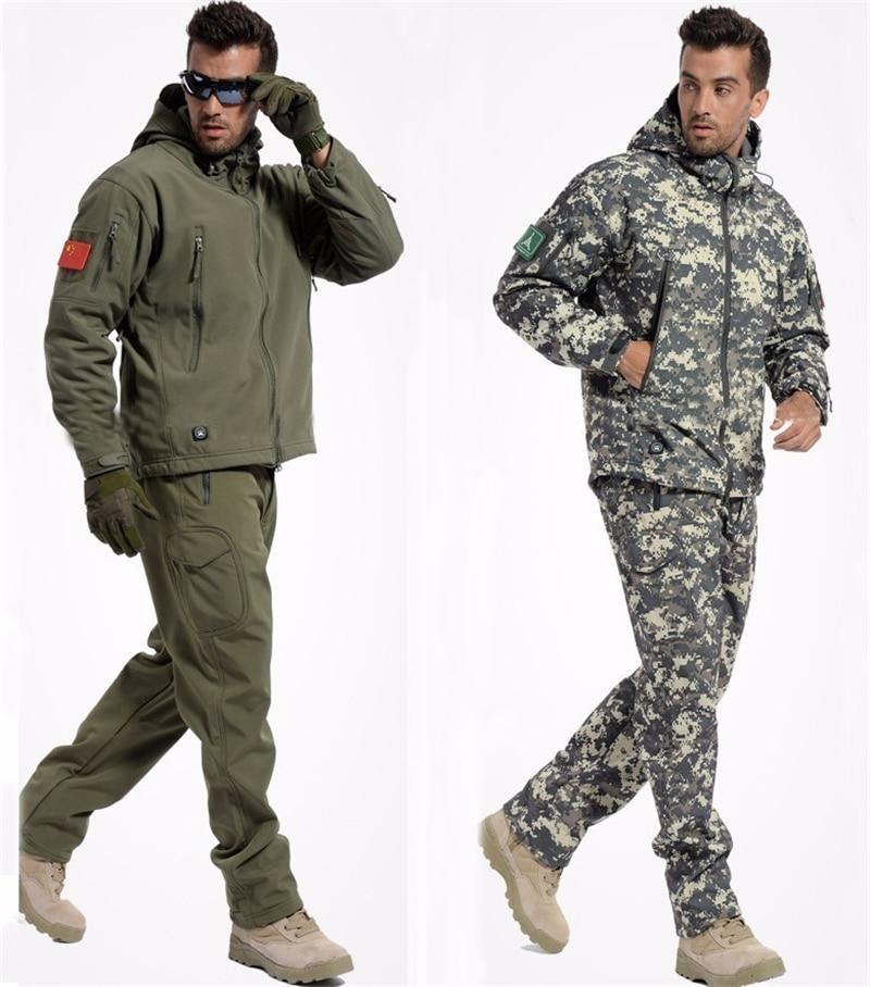 Winter Men's Tactical Softshell t Jacket Set Camouflage Windbreaker Waterproof Hunting Coats Outwear Army Military Fleece Jacket