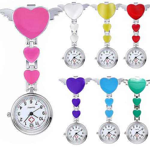 Female Portable Women Stainless Steel Lady Cute Love Heart Quartz Clip-on Fob Brooch Clock Nurse Pocket Watch New  Nurse Watch
