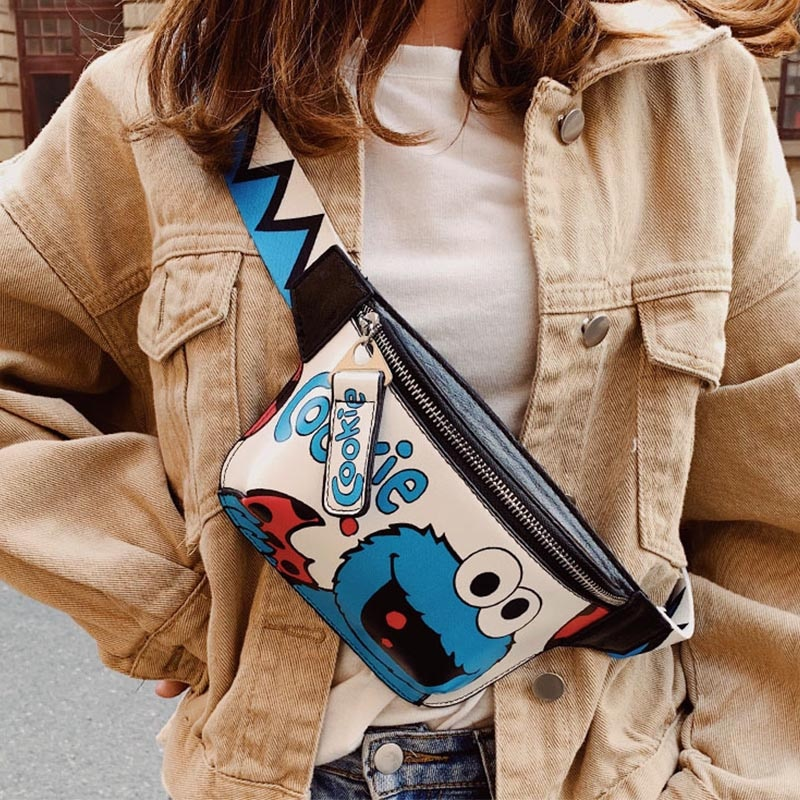 Waist Bag Women's Fanny Pack Cartoon Belt Bags Handy Packs Banana Chest Bag Female Hip Package Crossbody Purse PU Leather Pouch