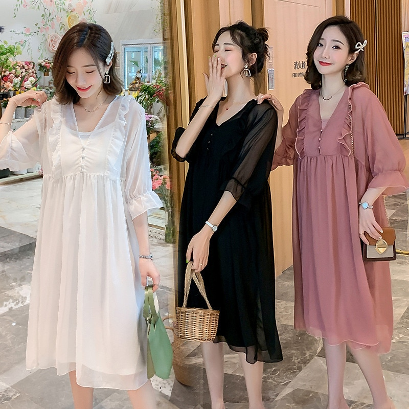 New Pregnant Women's Dress with Wooden Ears 2021summer Two-piece Mid-length Sling Short-sleeved Clothes for Pregnant Women PW01