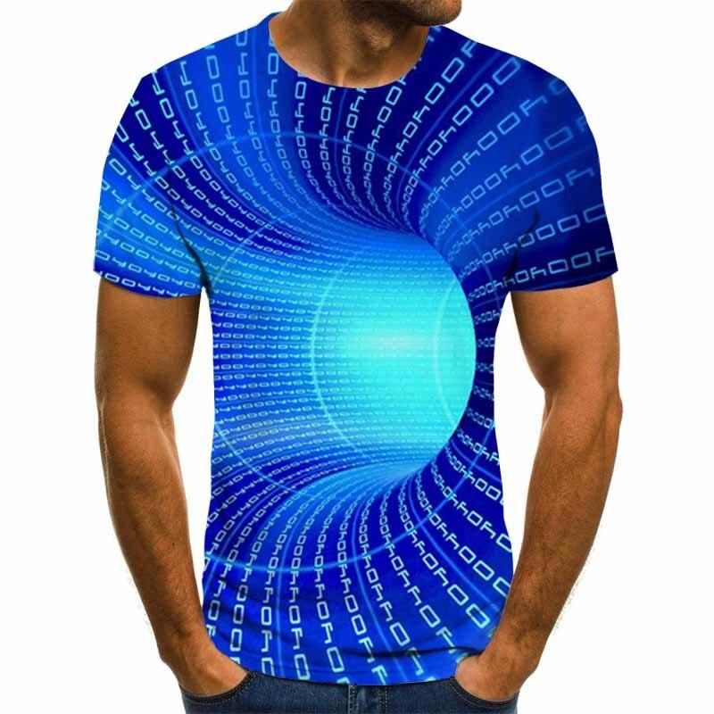 2020 nueva marca, camiseta estampada para hombre, divertida camiseta, ilusión óptica, gráfico blanco y negro, jersey con cuello redondo, camiseta 3D para mujer