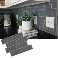 Autocollant mural auto-adhesif 3D  1 piece  carreaux de metro  brique grise  peler et coller  bricolage  cuisine  salle de bains  decoration de maison  vinyle