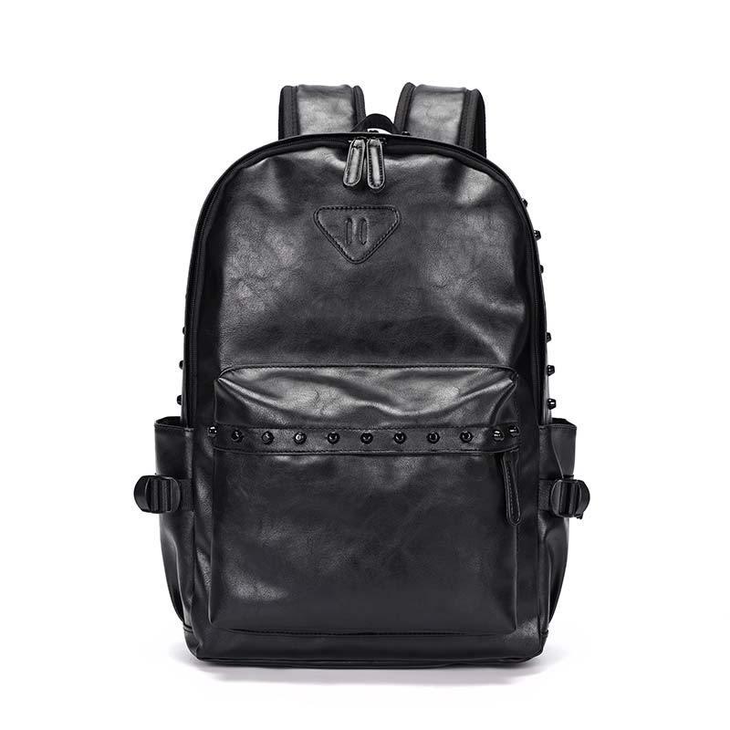 Британские Модные мужские рюкзаки, уличные трендовые рюкзаки из искусственной кожи с заклепками, мужские сумки для ноутбука, вместительная...