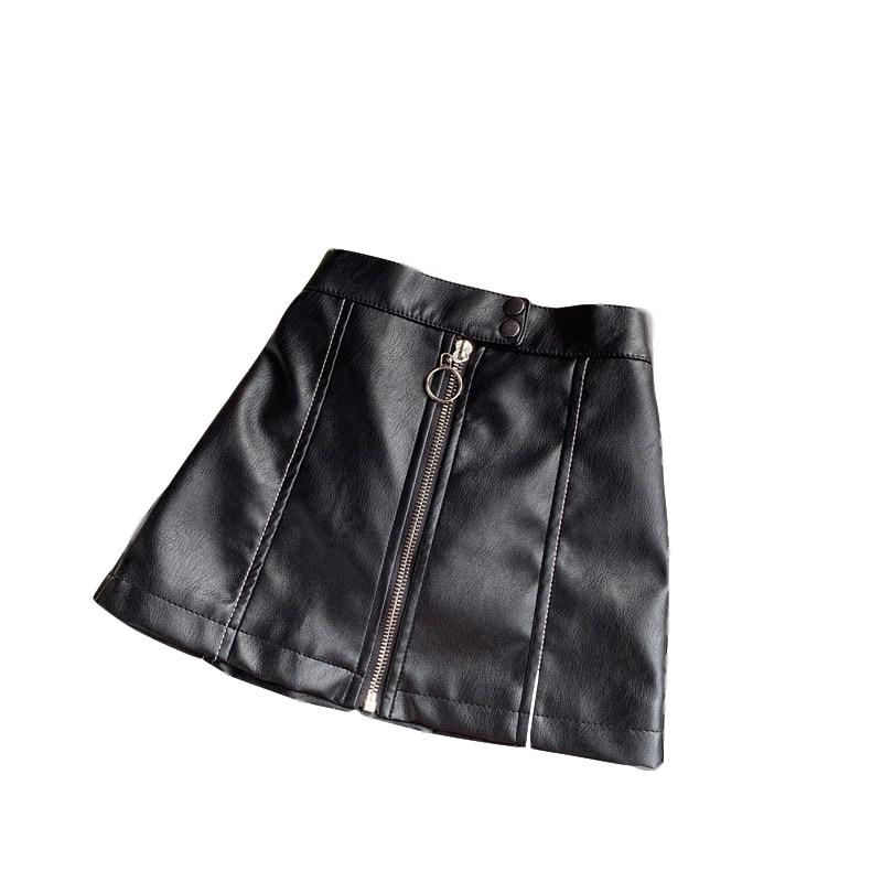 Girls Zipper PU Short Skirt Child Faux Leather Black Skirts Children Four Seasons Fashion Miniskirts Baby Girl Clothes Clothing