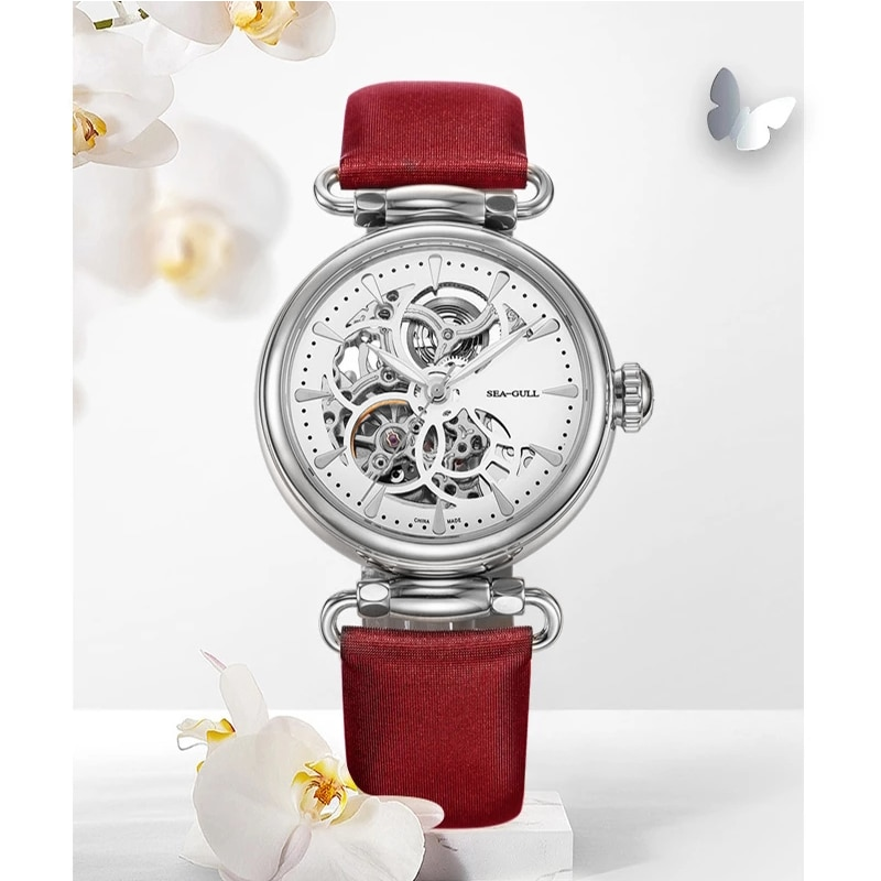 Seagull Lady Mechanical Watch Fashion Hollow Automatic Mechanical Watch 50m Waterproof Watch Goddess of Time 634L enlarge