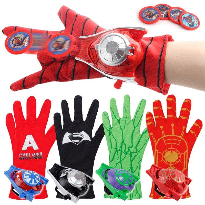 Multiple Types Spider man Captain America Iron man Hulk Batman Glove Launcher Toys For Children Birthday Christmas Gift