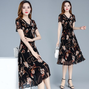 2020 new summer women's Korean version of the dress mother clothes Slim young ladies short sleeves and calf dress printing