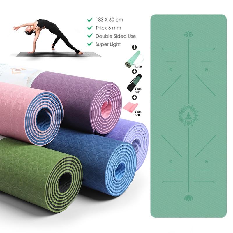 Коврики для йоги, нескользящий коврик для фитнеса для начинающих, экологичные гимнастические коврики 183X61CM TPE, линия положения, светильник кие, для спортзала, пилатеса, Новинка|Коврики для йоги| | АлиЭкспресс