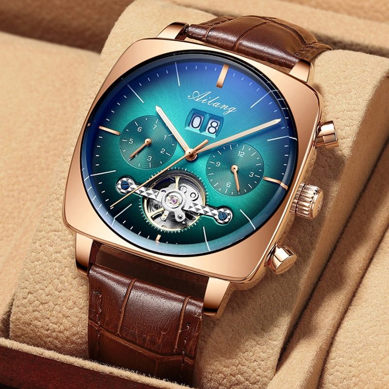 watch men luxury mechanical automatic chronograph Square Large Dial Watch Hollow Waterproof 2020 New