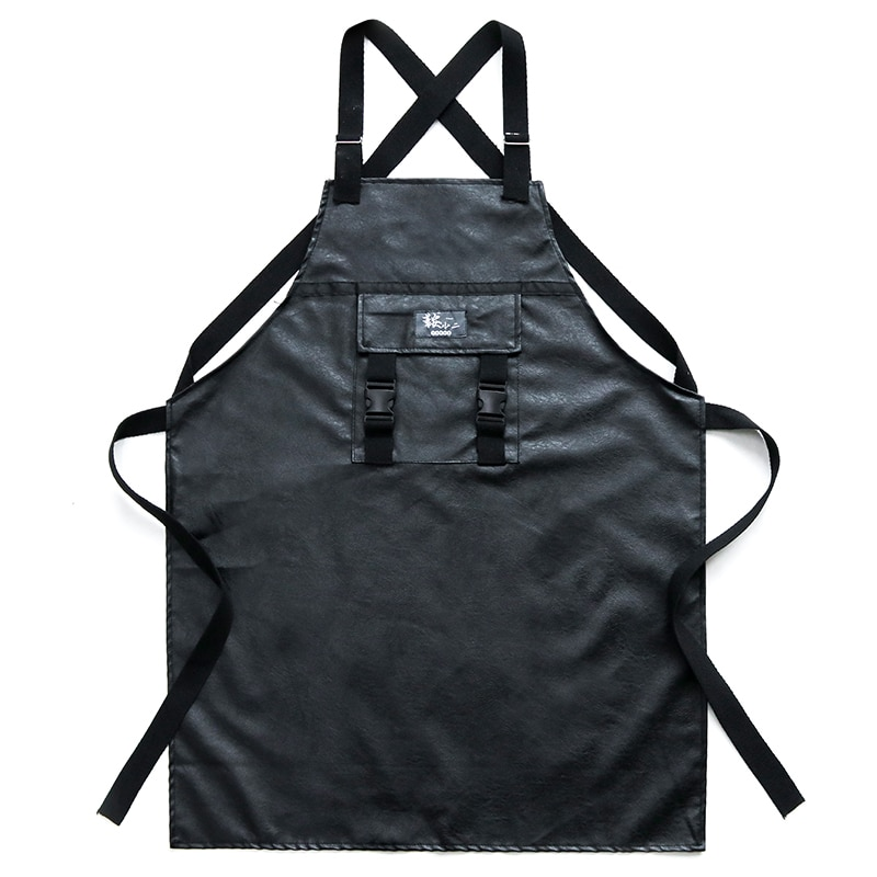 Brief Fashion PU Leather Apron Waterproof And Breathable Without Wrinkles Barista Work Clothes Slim Fit For Women And Men enlarge