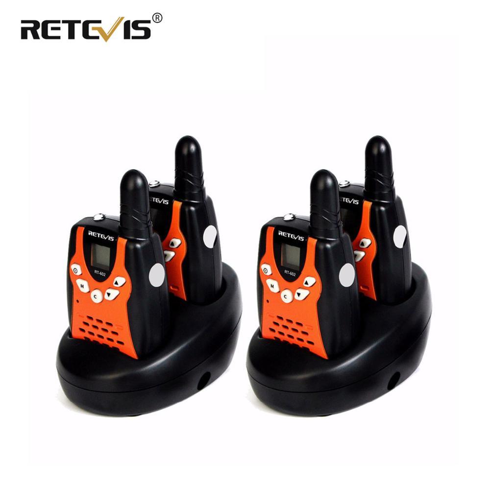 Mini talkie-walkie RT602 4 pièces Radio pour enfants 0.5W 8/22CH PMR446 écran LCD batterie Rechargeable Radio communicateur 2 voies