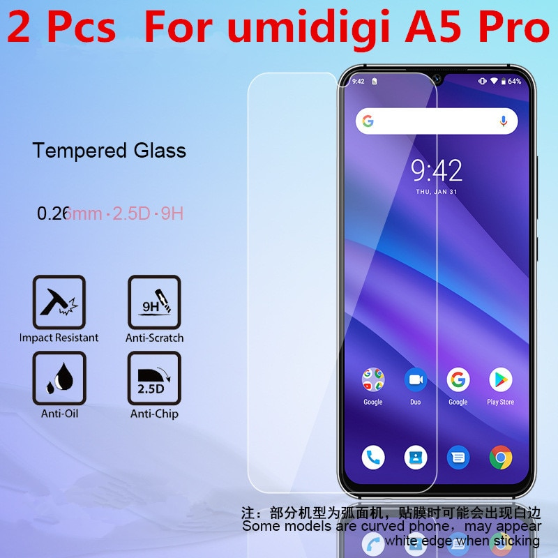 Protector de pantalla de vidrio templado para teléfono móvil 2 uds para umidigi A5 Pro A5pro Protector de pantalla película protectora