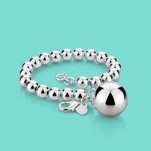 Femmes 925 bracelet en argent sterling ethnique la boule pendentif bracelet perlé dame breloque bijoux en argent 20cm chaîne en argent massif