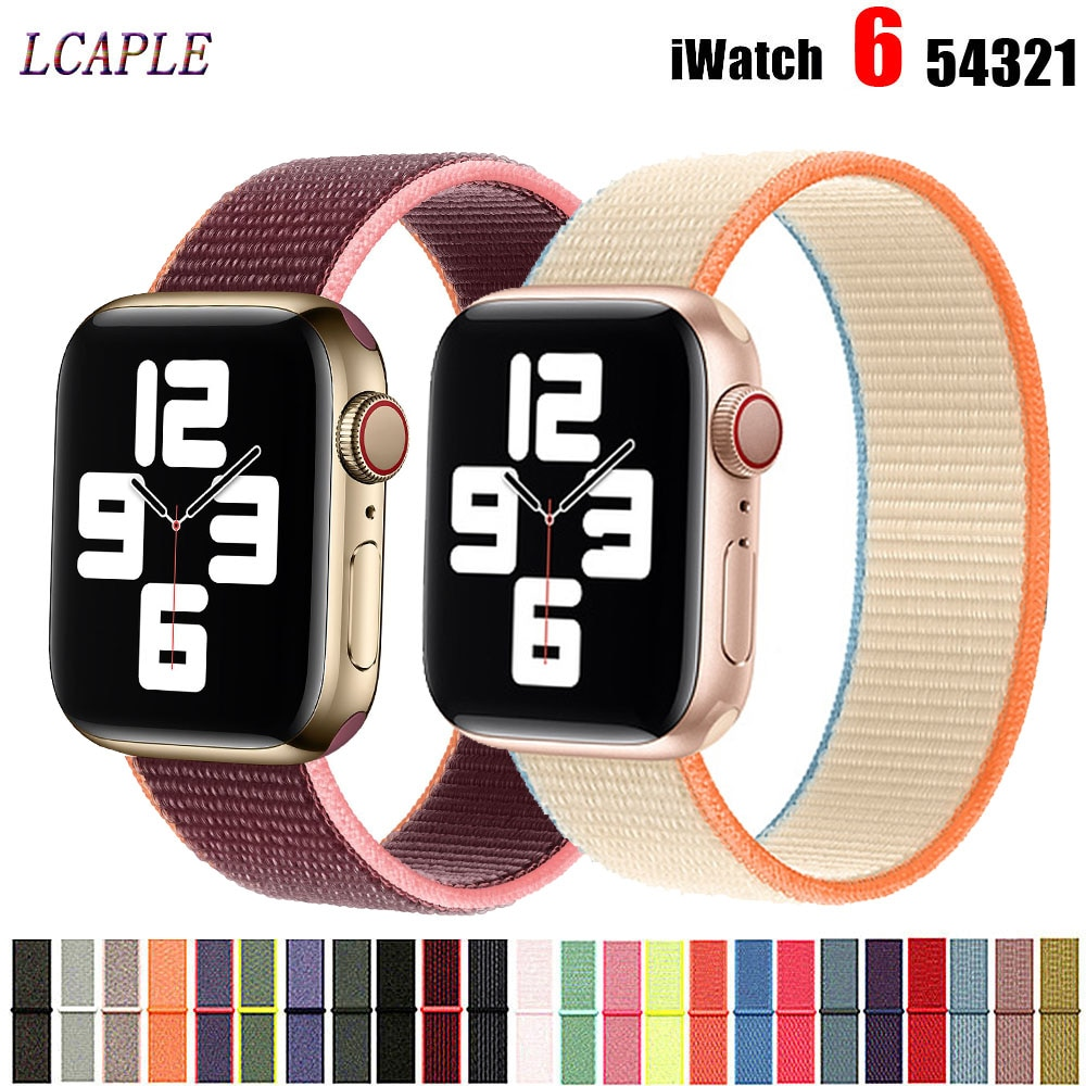 strap for apple watch 42mm 38mm sport loop iwatch band 5 44mm 40mm correa pulseira apple watch 5 3 4 band nylon watchband 3 2 1 Nylon Strap For Apple Watch Band 44mm 40mm iWatch 7 6 SE 5 4 3 Accessories watchband belt Loop correa apple watch 42mm 38mm band