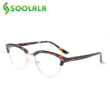 SOOLALA Semi-rimless Anti Blue Light Cat Eye Reading Glasses Women Magnifying Eyeglasses Presbyopia