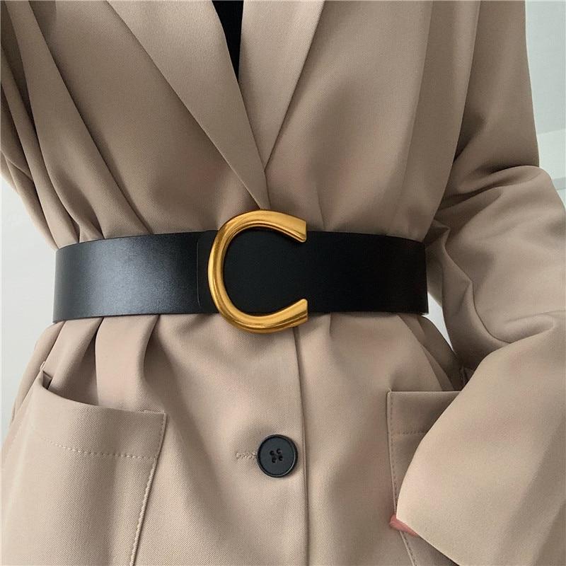 AliExpress - Punk Vintage Big Buckle Belts For Women New Design Black Waistbands Dress Lady Fashion Brown Wide PU Leather Waist Strap Coat