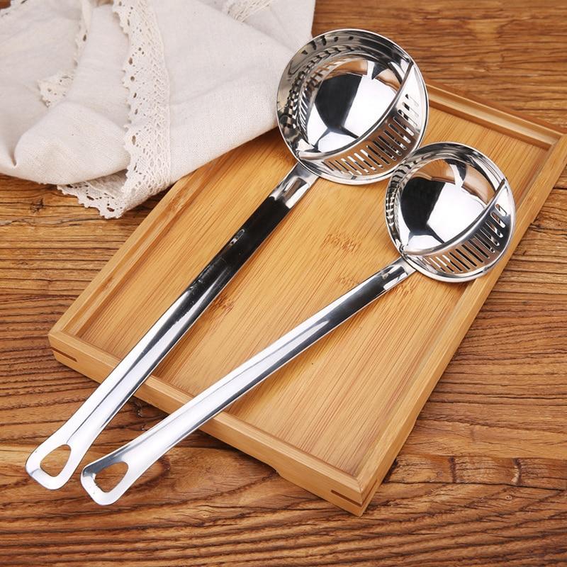 Двойной набор дуршлаг кухонная Ложка ситечко из нержавеющей стали горячий горшок ложка для супа кухонные принадлежности для ресторанов
