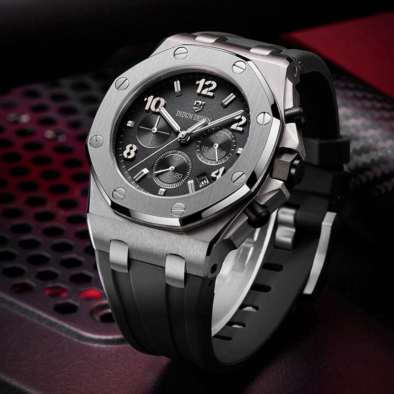 DIDUN Top Brand Luxury Steel Sport Quartz Watch Men Sports Brand Luxury Watches Clock Chronograph Mens Watches Rubber Wristwatch
