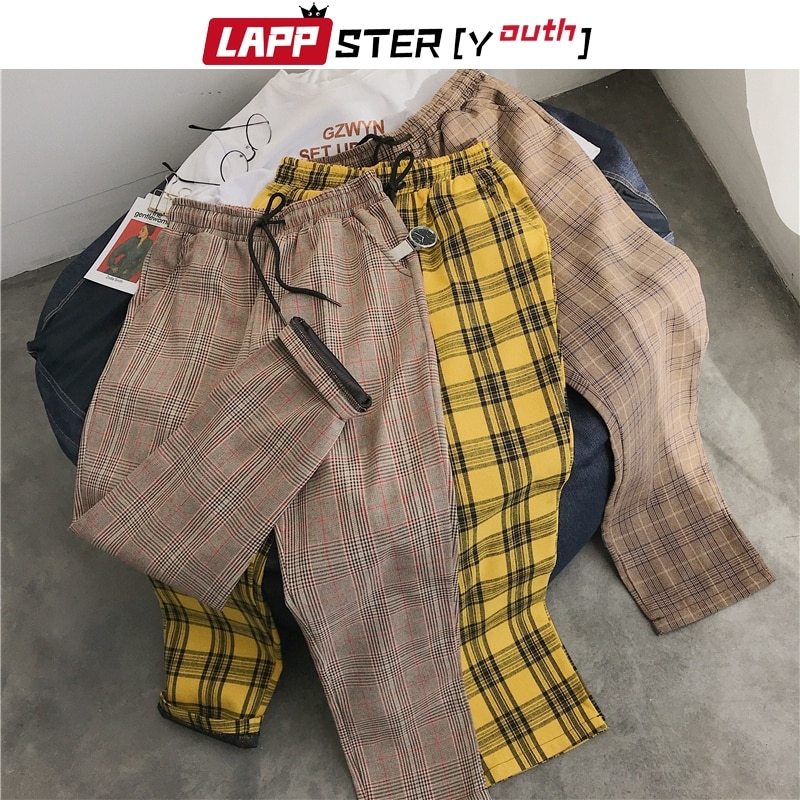 LAPPSTER-Youth Streetwear Black Plaid Pants Men Joggers 2020 Mens Straight Harem Pants Men Korean Hi