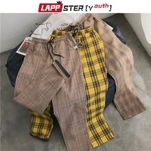 LAPPSTER-נוער Streetwear שחור משובץ מכנסיים גברים רצים 2020 Mens ישר הרמון מכנסיים גברים קוריאני היפ הופ מכנסיים בתוספת גודל
