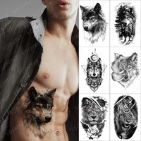 dark wolf forest temporary tattoo sticker for men women owl lione waterproof fake henna fox tiger animal body art tatoo decal